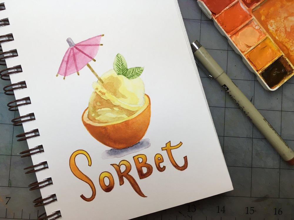 Sorbet, watercolor © Denise Ortakales