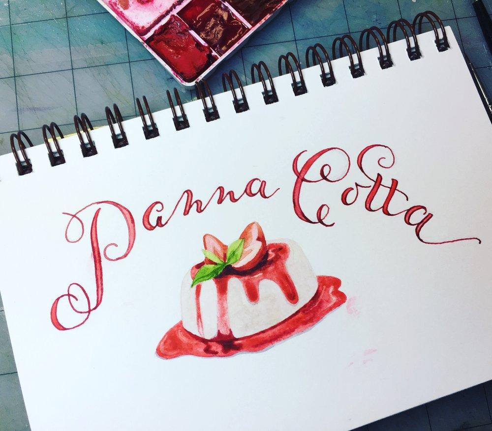 Panna Cotta, watercolor © Denise Ortakales