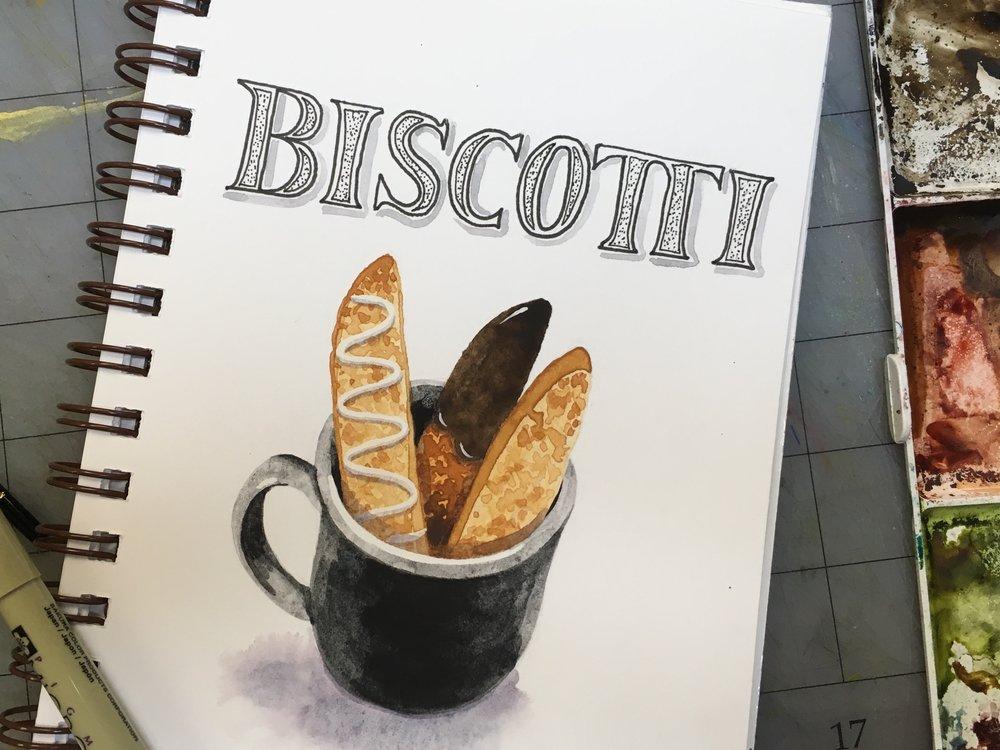 Biscotti, watercolor © Denise Ortakales