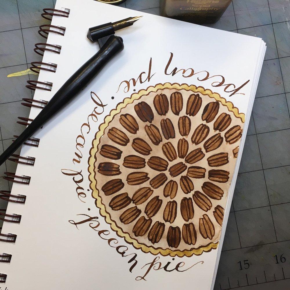 Pecan Pie, watercolor © Denise Ortakales