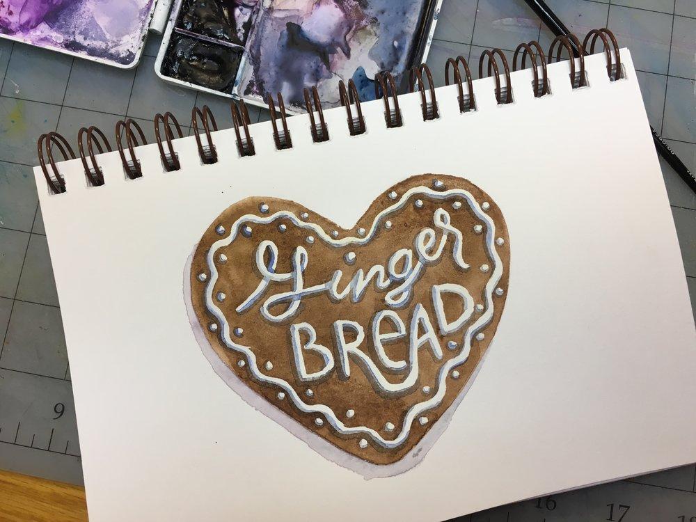Gingerbread, watercolor © Denise Ortakales