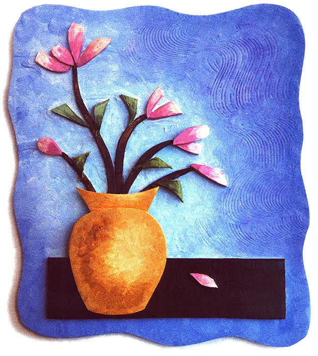 Flower Vase, foamcore, gesso, acrylics © Denise Ortakales
