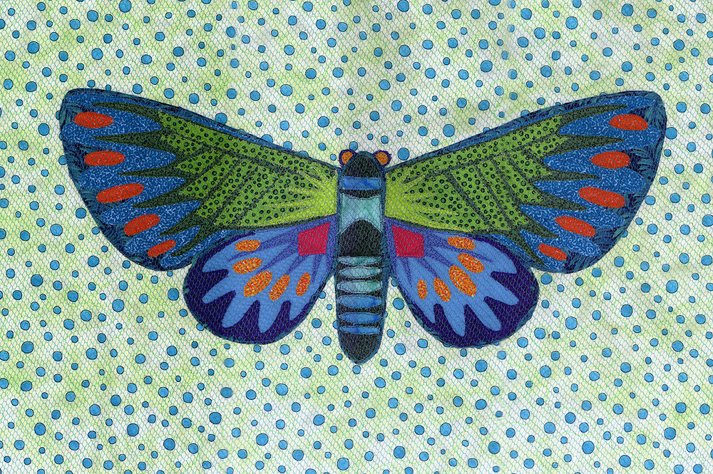 Butterfly, fabric collage © Denise Ortakales