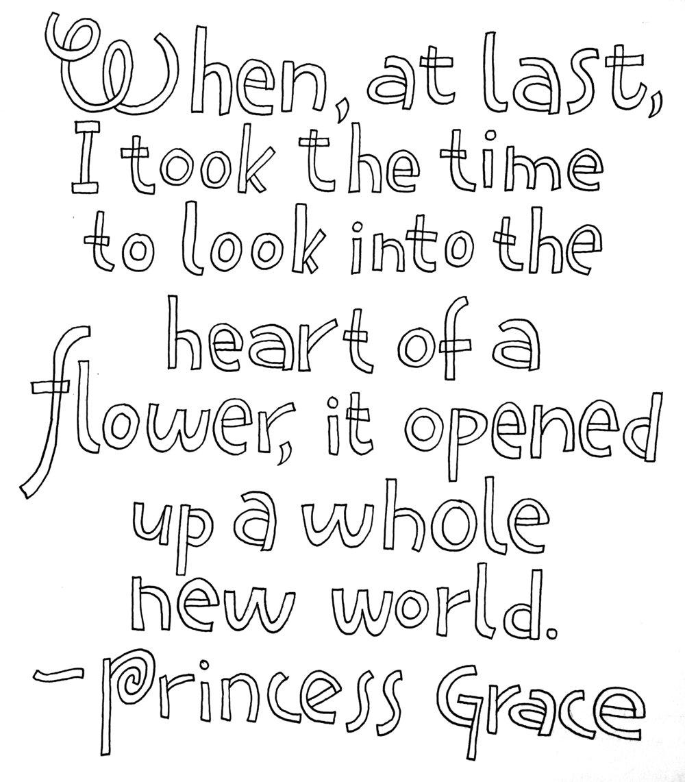 Princess Grace quote, sharpie © Denise Ortakales