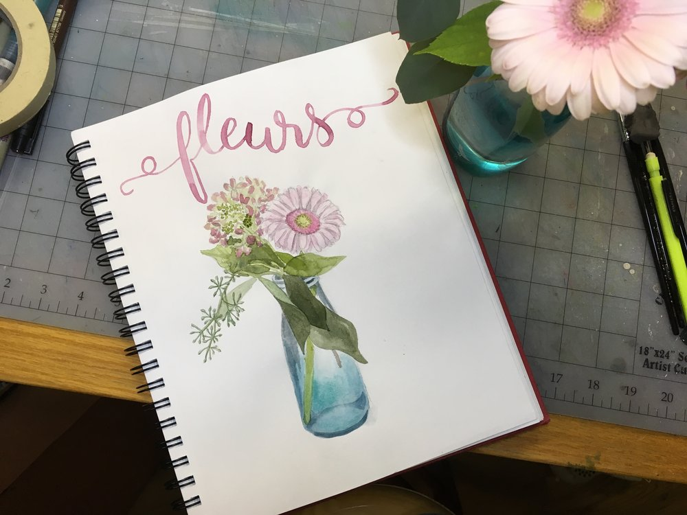 Fleurs, sharpie, watercolor © Denise Ortakales
