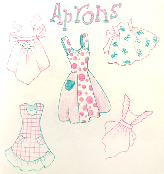 Aprons, colored pencil © Denise Ortakales