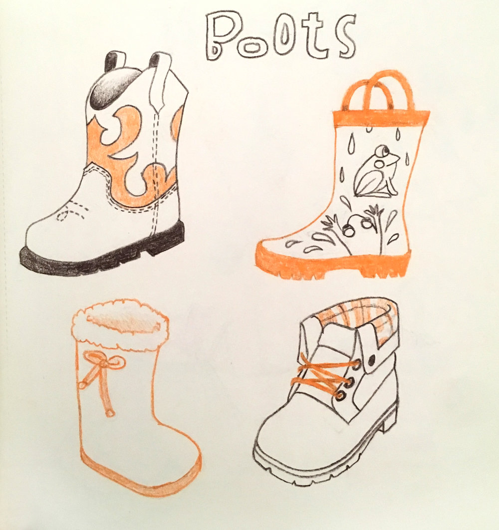 Boots, colored pencil © Denise Ortakales