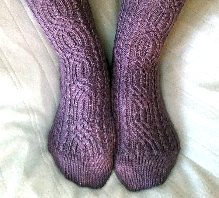 Purple Cable Socks © Denise Ortakales