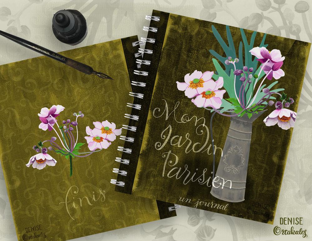 Mon Jardin Parisien, un journal, gouache and watercolor © Denise Ortakales
