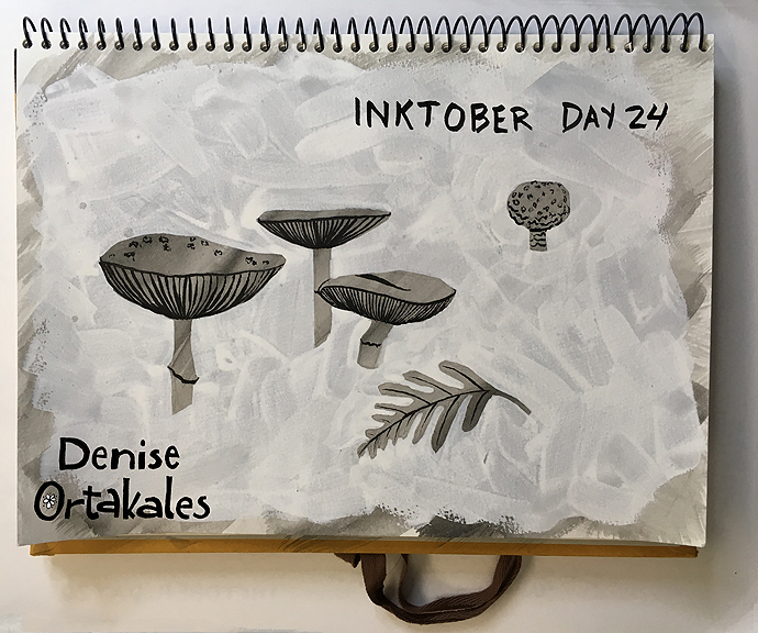 Mushrooms, India Ink and white gouache © Denise Ortakales