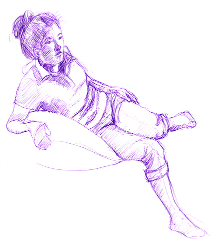Model pose 2, purple ball point pen © Denise Ortakales