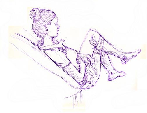 Model pose 1, purple ball point pen  © Denise Ortakales