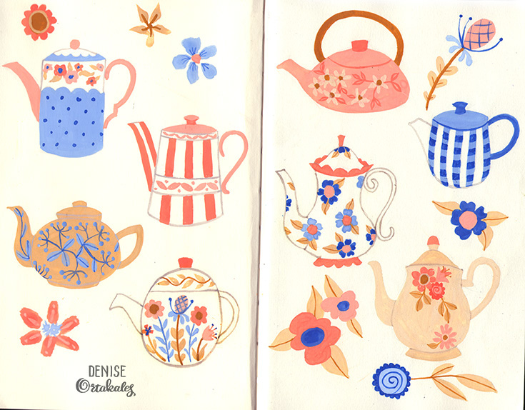 Teapots, gouache © Denise Ortakales