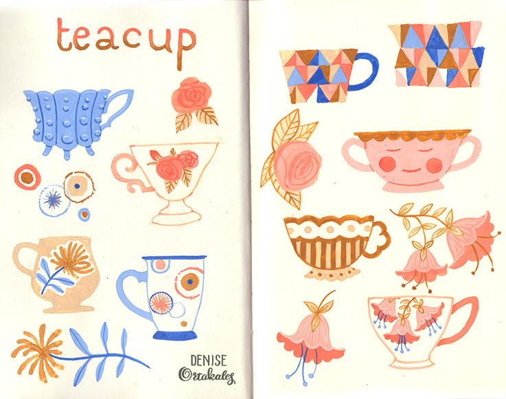 Teacups, gouache © Denise Ortakales