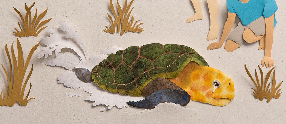 Turtle Patrol, paper sculpture © Denise Ortakales