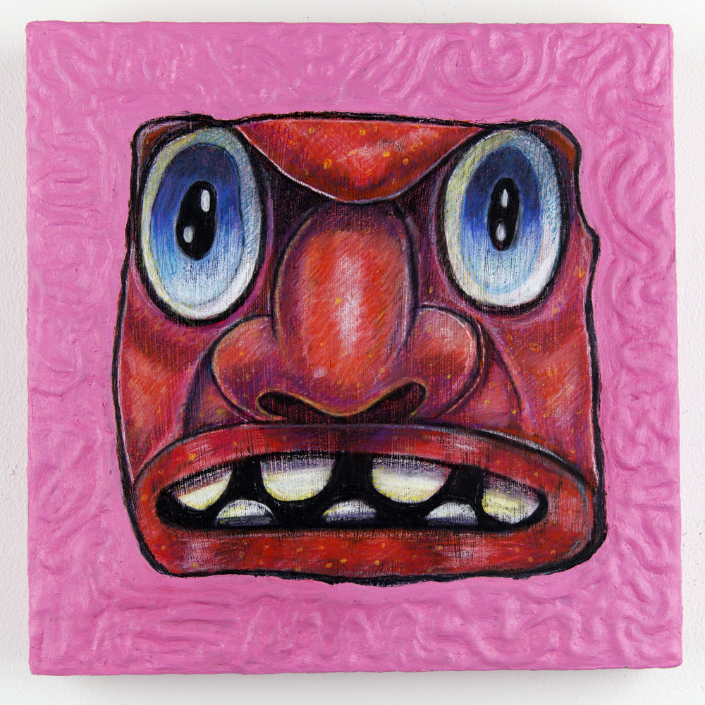 Devil Head with Blue Eyes and a Pink Frame