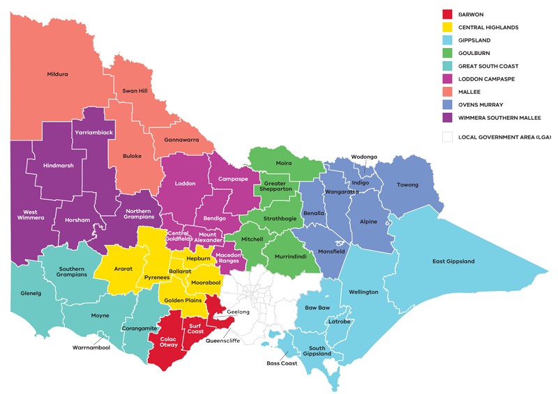 BCR Painting - Victorian Regions Map