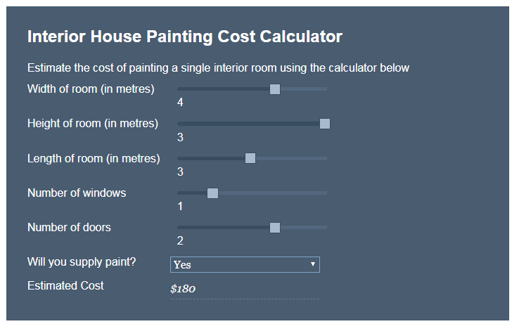 Service Seeking Estimates Room at $180    Service Seeking - https://www.serviceseeking.com.au/blog/cost-of-house-painting/