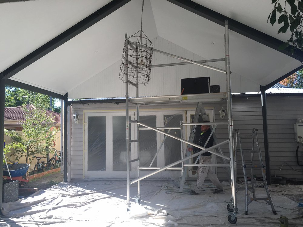 During Painting of the Outdoor entertaining area at Georgias Home.