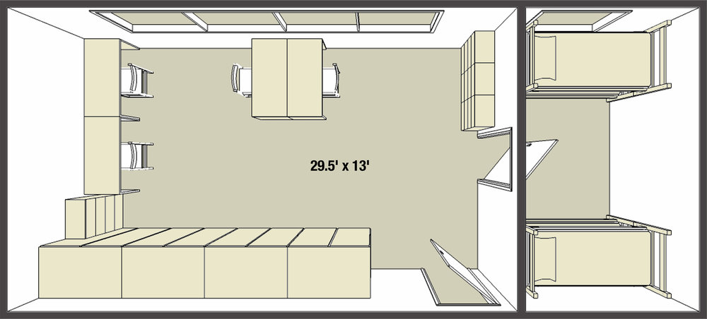Forest Halls dorm room basic layout example II, quad room