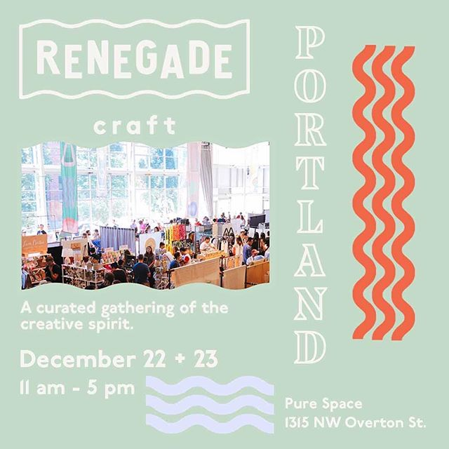 ✨Portland! ✨ We're thrilled to announce we'll be participating in this year's @renegadecraft! Perfect time to get your holiday shopping done and support local makers. See you there! 🎄✨