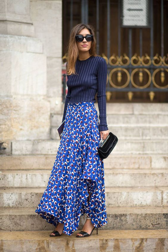 * Achieve this look with the  Abbey Floral Twirl Skirt  or the  Fleur Dress  paired with a blue round neck top to create the skirt effect.
