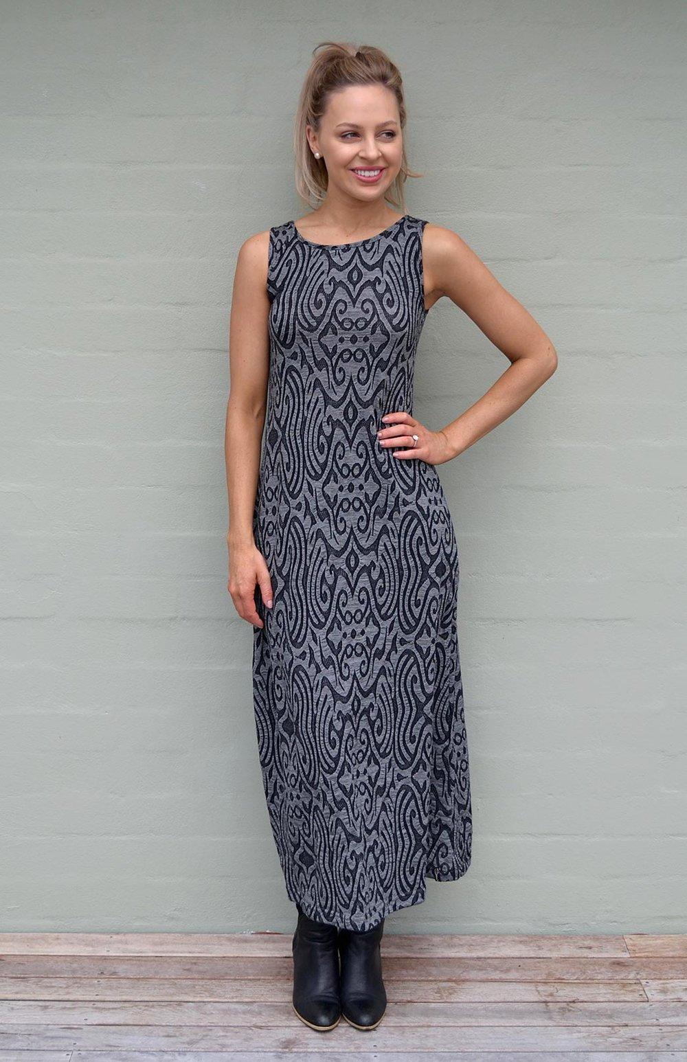 Dark Inca Pattern Maxi Dress