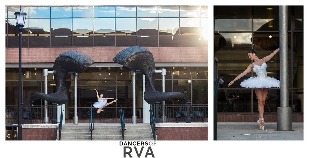 Dancer in front of VCU ram horns