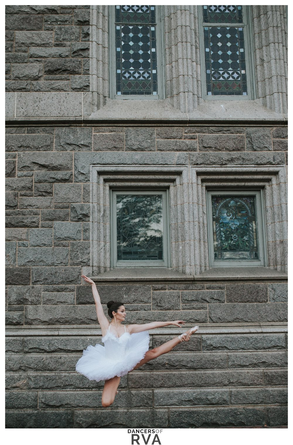 Ballet Dancer Stavna Ballet Company leaping in front of church Richmond VA VCU
