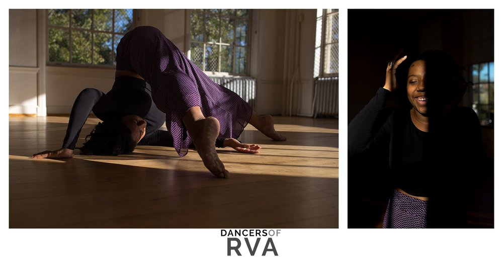 VCU Dance Student dancing in studio