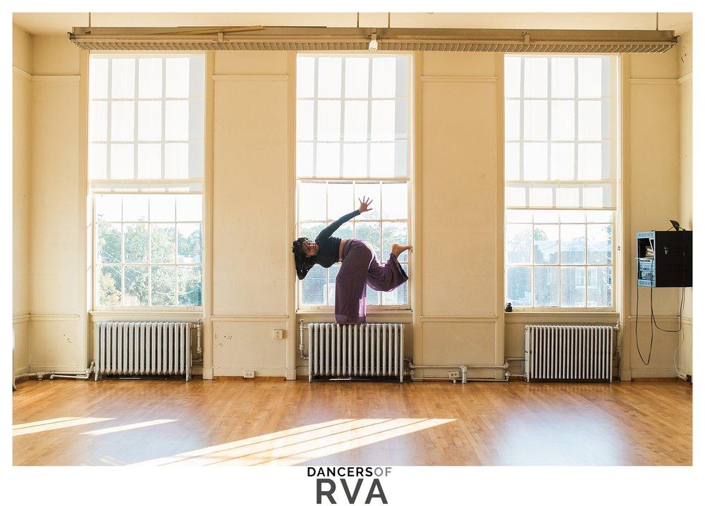 modern dancer in window frame at VCU dance