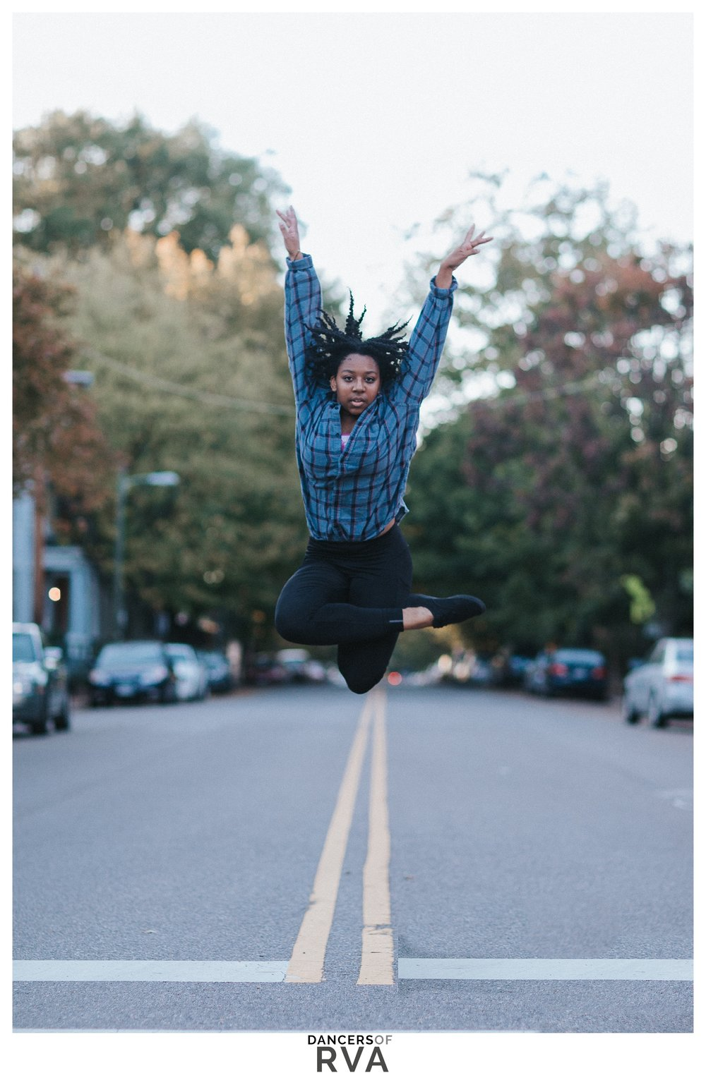 VCU dancer jumping in the streets of Richmond, VA
