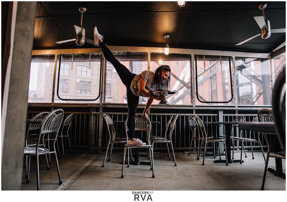 RVA Richmond VA Dancer at Bottom's Up Pizza in Shockhoe Slip
