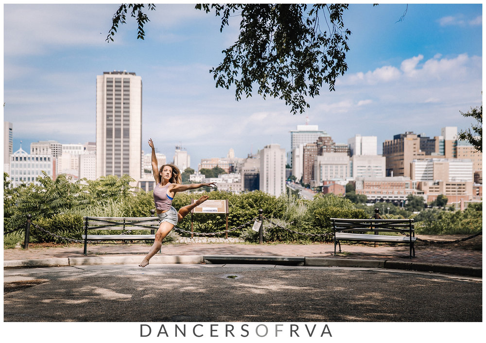 KARAR Dance Company leaping in front of the Richmond skyline, Church Hill RVA