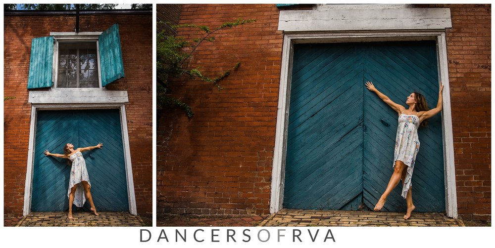 dancer in front of turquoise door in libby hill, richmond va