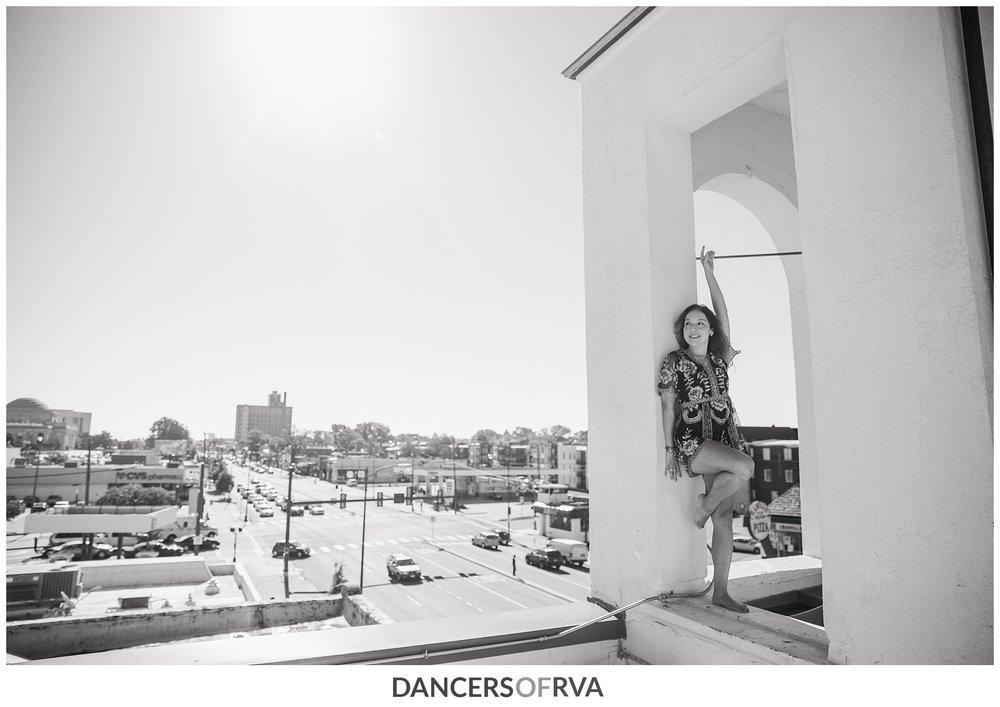 Dancer on top of the Hofheimer Building in Richmond VA