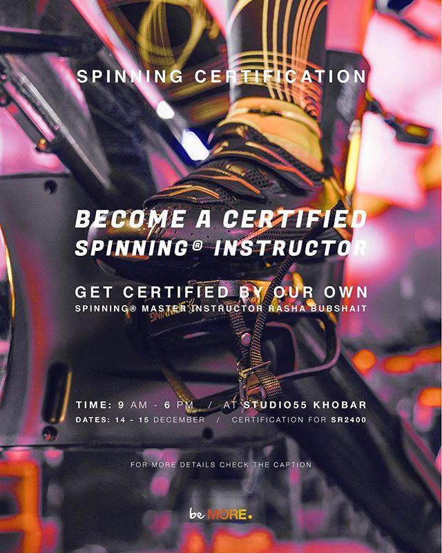 𝔹𝕖𝕔𝕠𝕞𝕖 𝕒 𝕔𝕖𝕣𝕥𝕚𝕗𝕚𝕖𝕕 𝕊𝕡𝕚𝕟𝕟𝕚𝕟𝕘 𝕀𝕟𝕤𝕥𝕣𝕦𝕔𝕥𝕠𝕣!  Get certified by our own Master Spinning Instructor Rasha Bubshait!  2 day workshop including both theoretical and practical parts.  Price: 2400 SAR 🗓 14-15 December ⏰ 9am - 6pm 📍Studio55 AlKhobar ______________________  هل تريدين أن تصبحي مدربة سبينينج معتمدة؟  احصلي على شهادة مع المدربة الرئيس رشا بوبشيت!  ورشة عمل لمدة يومين شاملة للأجزاء النظرية والتطبيق العملي ب٢٤٠٠ ريال. 🗓 ١٤-١٥ ديسمبر ⏰ ٩ص - ٦م 📍ستديو فيفتي فايڤ الخبر ______________________  𝔽𝕠𝕣 𝕞𝕠𝕣𝕖 𝕚𝕟𝕗𝕠𝕣𝕞𝕒𝕥𝕚𝕠𝕟 | للمزيد من المعلومات 𝕂𝕙𝕠𝕓𝕒𝕣: 0558454804 𝕨𝕨𝕨.𝕗𝕚𝕥𝕤𝕥𝕦𝕕𝕚𝕠𝟝𝟝.𝕔𝕠𝕞 ______________________  #rideMORE #beMORE