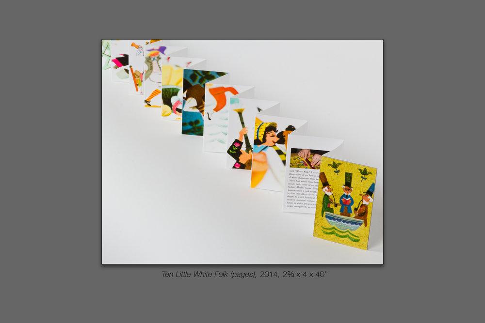 "Ten Little White Folk (pages), 2014, 2⅔ x 4 x 40"""