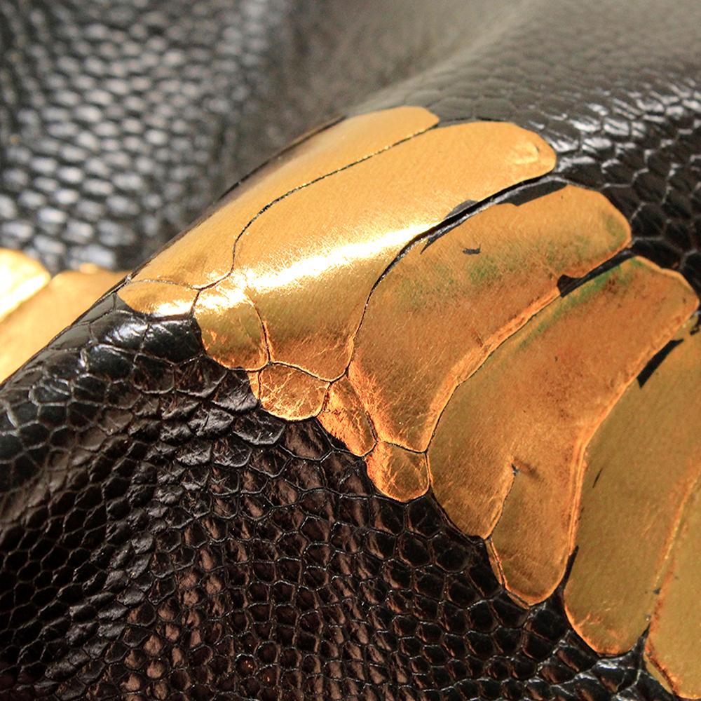 Ostrich Leg Black and Gold
