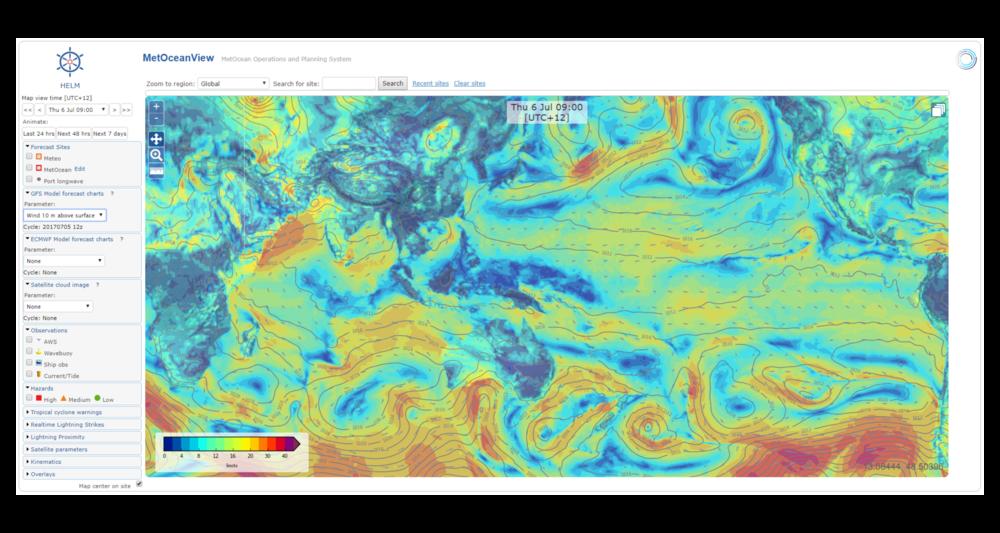 Cartas meteorólogicas: velocidad del viento