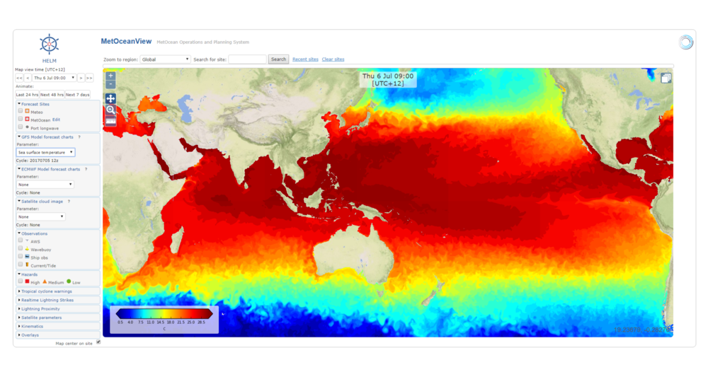 Weather charts: sea surface temperature