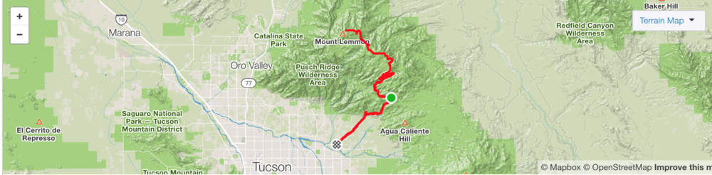 Mt Lemmon Strava Map