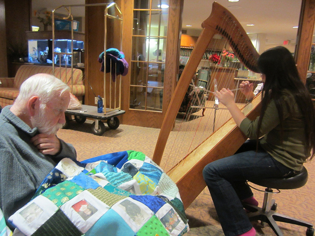 Playing the harp for my grandfather at St. Theresa Nursing Home.