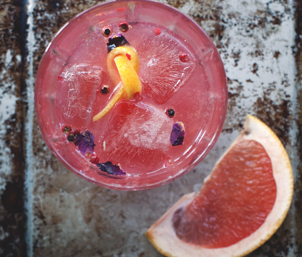 Pink grapefruit + Pink Rose Syrup = The most fantastically colored drink in all the land.