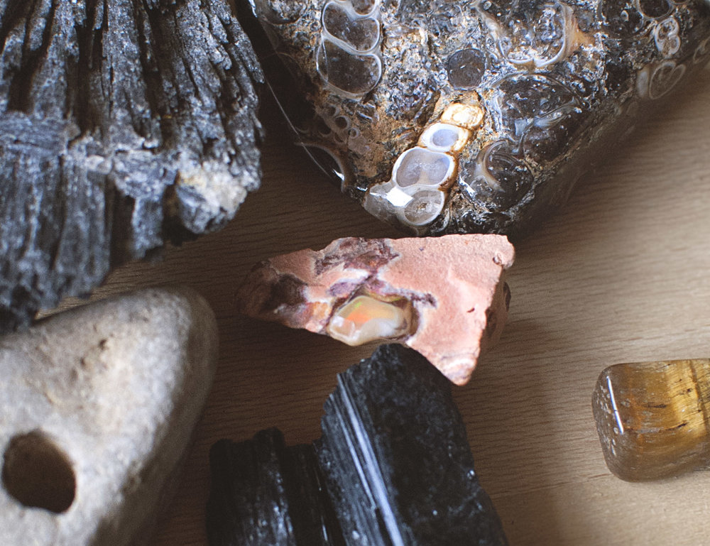 Close-up of rocks and minerals.