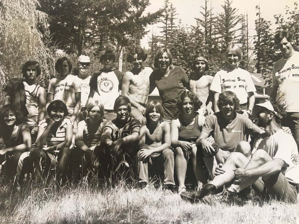 Two of the boys in this photo report that Myers sexually molested them  and a third reports that Myers tried. Myers is standing at far right.                        Traveling School Summer Bicycle Tour 1978