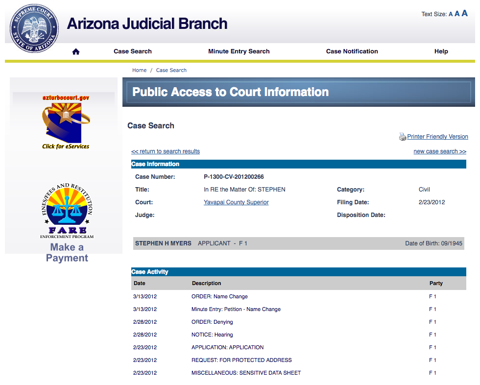 This document is publicly available on line by performing a case search at the  Clerk of Superior Court Yavapai County's website