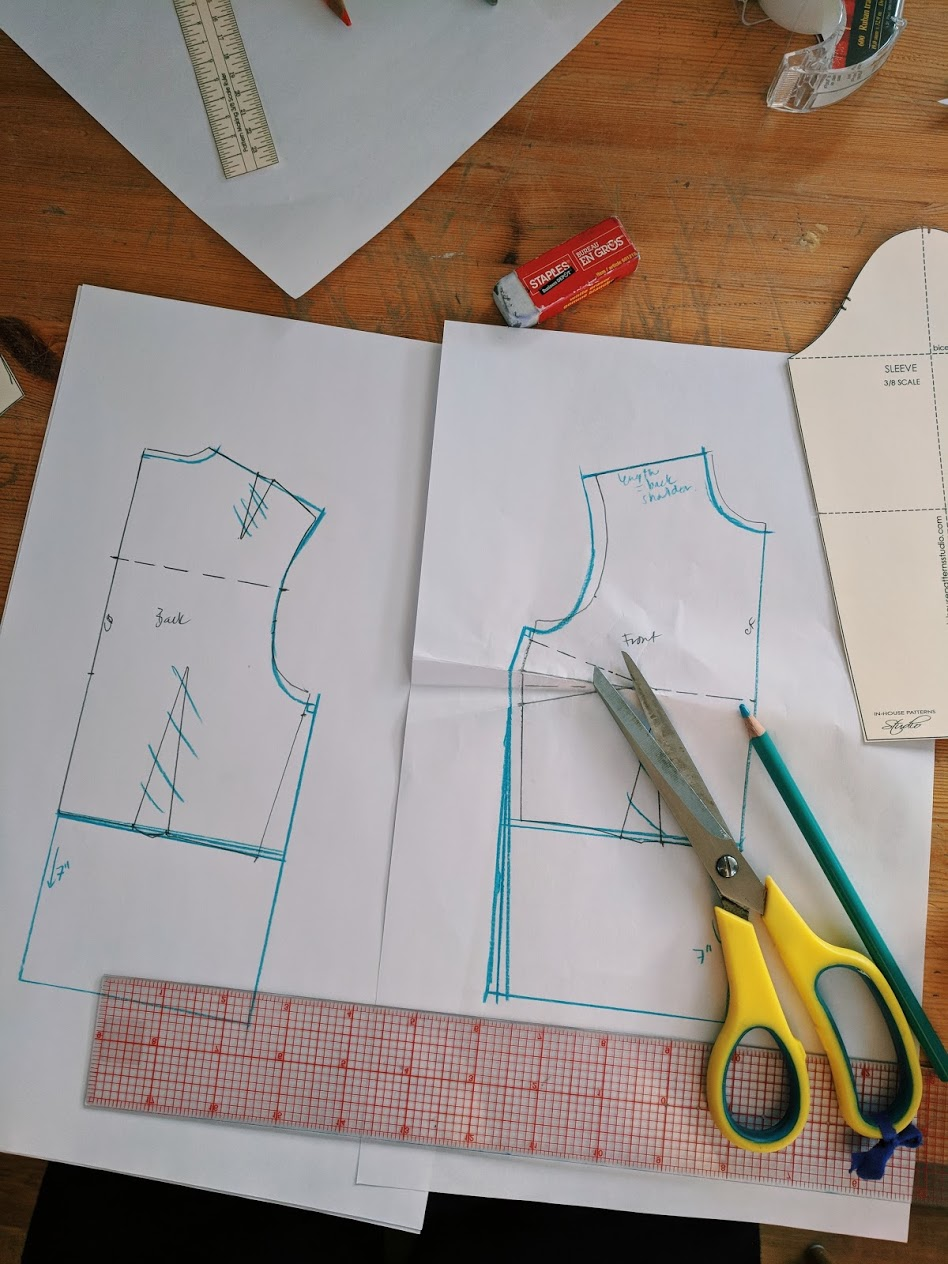 Adding ease to the bodice block create a basic button up shirt draft.