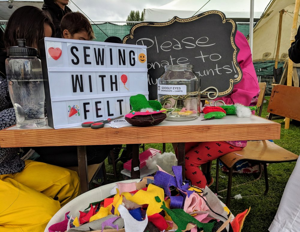 Sewing with felt in Kidlandia.