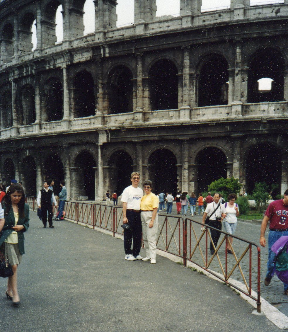 Posing outside the Colosseum -